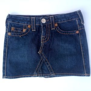 True Religion Dark Wash Bobby Mini  Jean Skirt
